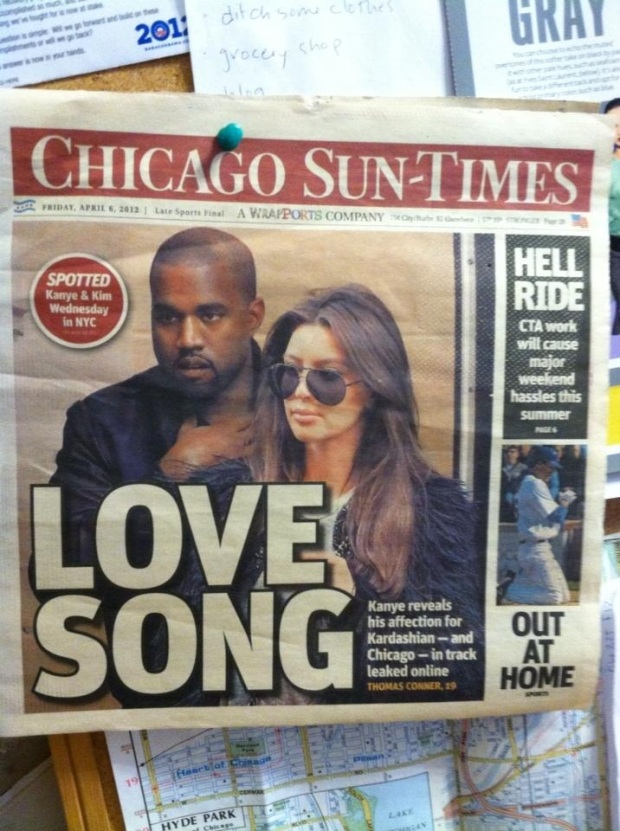 Kimye on the Chicago Sun-Times front page (on my bulletin board), April 6 2012