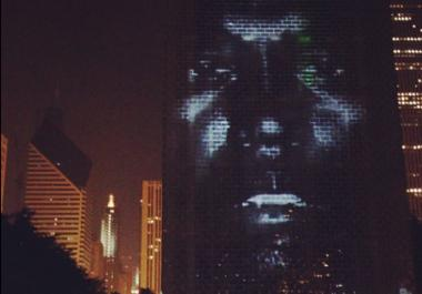 Kanye on the Crown Fountain at Chicago's Millennium Park