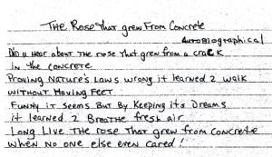 "Tupac's handwritten poem ""The Rose that Grew From Concrete,"" via cleeclothing.com"