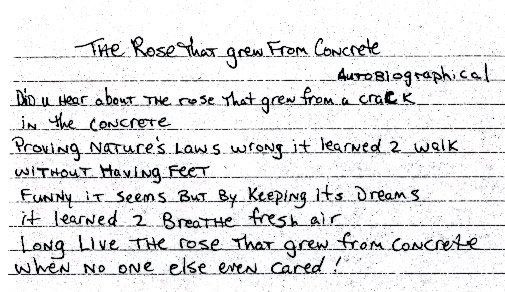 """Tupac's handwritten poem """"The Rose that Grew From Concrete,"""" via cleeclothing.com"""