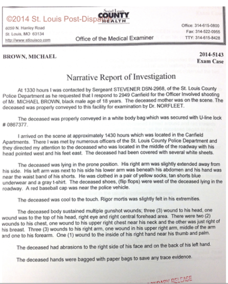 first page of the Michael Brown autopsy report, via St. Louis Post-Dispatch